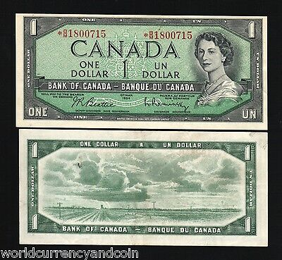 Canada 1 Dollar P75 B 1954 Young Queen Replacement Aunc Canadian Money Bank Note