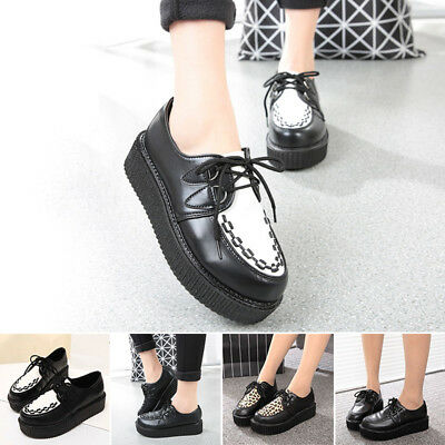 New Womens Black Platform Lace Up Ladies Flats Creepers Punk Goth Shoes Size 4-7