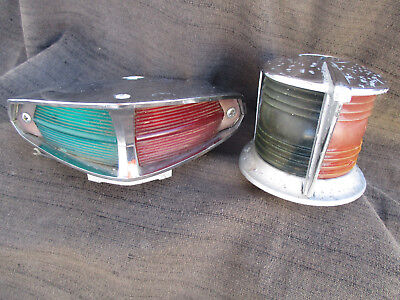 VINTAGE 1950s-1960s ? RED & GREEN MARINE BOAT BOW LIGHT 2 DIFFERENT