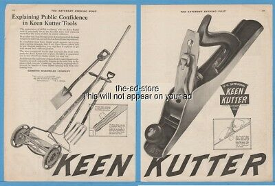 1920 Simmons Hardware Co Keen Kutter Tools Plane Reel Mower Rake Print Ad