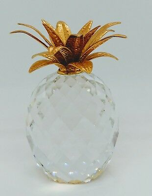 "Signed Swarovski 4""Tall Crystal Pineapple With Gold Leaves"