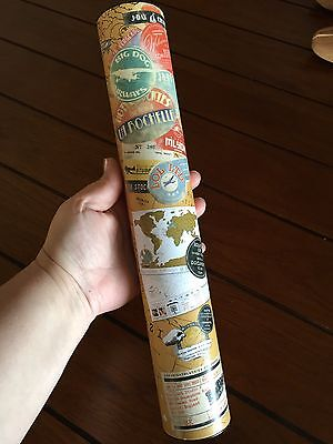 SCRATCH OFF MAP Gold World Map Document Trip Travel NEW
