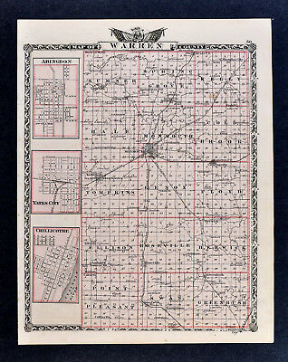 1876 Beers Illinois Atlas Map Warren County Monmouth Cameronville Young America