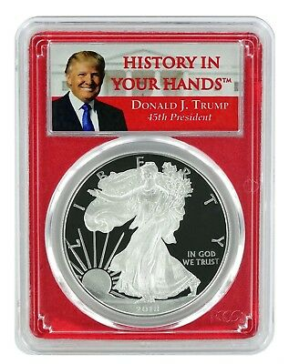 2018 W 1oz Silver Eagle Proof PCGS PR70 DCAM - Red Frame - Donald Trump Label