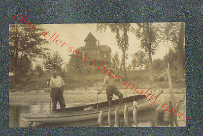 FAIRLEE VERMONT FISHING   - circa 1911 rppc Photo GRADE 2 Trim