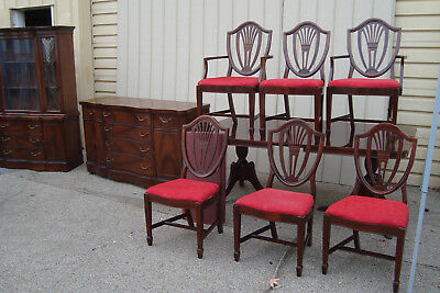 00001 Antique Dining Room Set China Table w/ 6 Shield Back Chairs + Buffet