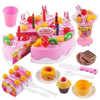Kids Food Cutting Set Pretend Role Cake Play Kitchen Birthday Toy #GO9