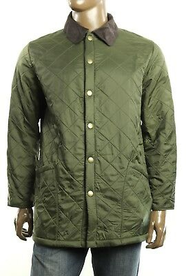 New Barbour Men's Eynsford Snap Button Closure Quilted Olive Jacket M