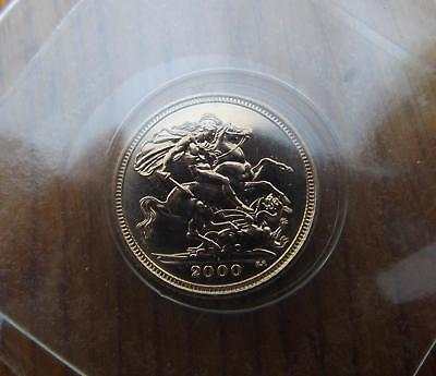 2000 Half Sovereign Great Britain Brilliant Uncirculated 22ct Gold.