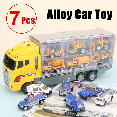 7 Pcs Double Sided Transport Semi Truck Matchbox Car Carrier Toy Boys Gifts