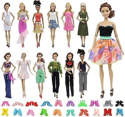 15PCS= 5 Outfit Skirt Shirt Jacket Trousers Clothes +5 shoes For 11.5'' Doll US