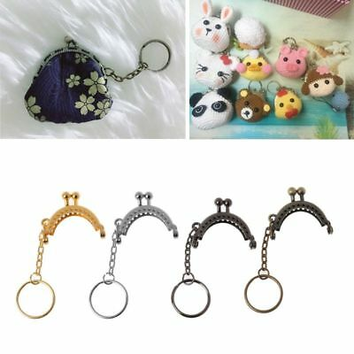 Iron Alloy Purse Bag Arch Frame Kiss Clasp Lock With Key Ring DIY Craft Oval 4cm