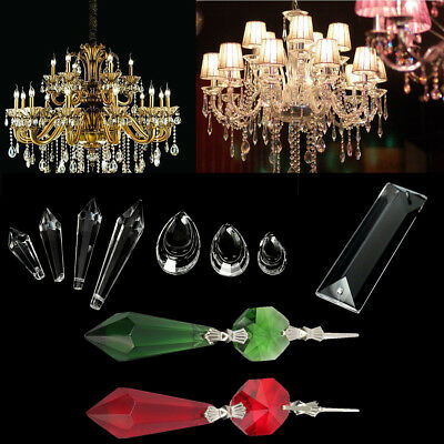 10 Types Clear Chandelier Glass Crystals Lamp Part Prisms Hanging Drops Pendants