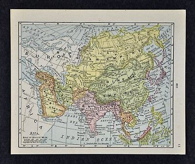 1917 McNally Map - Asia China Japan Korea India Nepal Siberia Tibet Arabia Siam