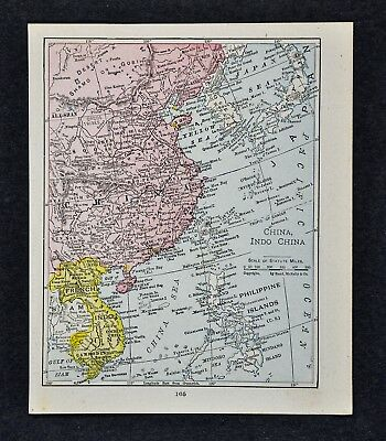 1917 McNally Map China Japan Korea Siam French Indochina Hong Kong Taiwan Asia