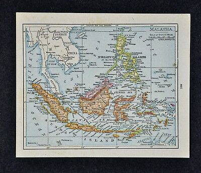 1917 McNally Map - East Indies Malaysia Philippines Borneo Java Sumatra Celebes
