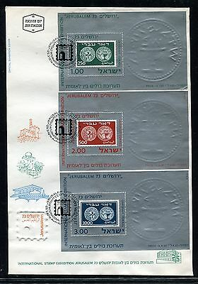 Israel 1973 three Stamp Exhibition miniature sheet First Day Covers x21814