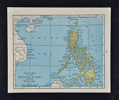 1917 McNally Map - Philippine Islands & China - Sea Luzon Manila Iloilo Mindanao