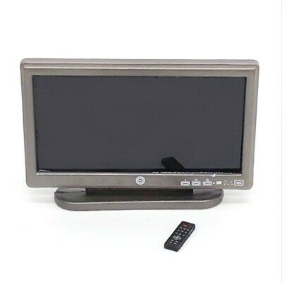 Miniature Widescreen Flat Panel TV w/ Remote Furniture For 1:12 Dollhouse Decor