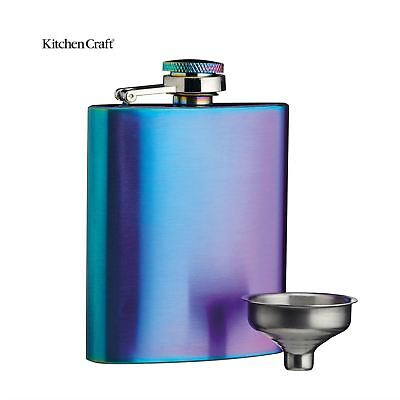 BarCraft Rainbow Irisdescent Brushed Steel Hip Flask with Easy Pour Funnel 100ml