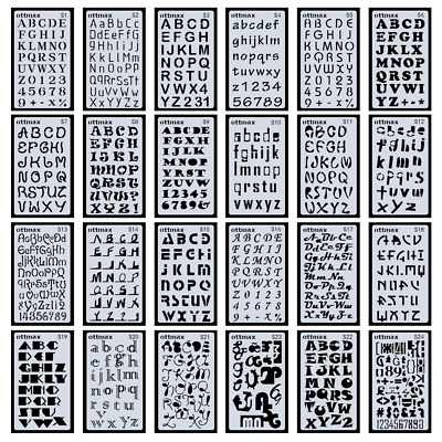 24 Pack Letter Number Stencils Alphabet Stencil for Bullet Journal Supplies...