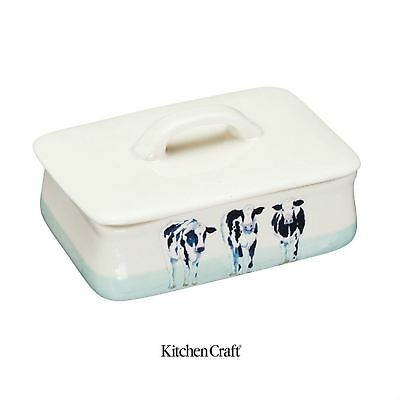 KitchenCraft Apple Farm Hand Finished Vintage Ceramic Cows Butter Dish Cream