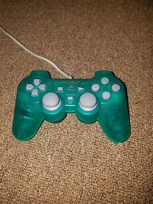 Official Sony PlayStation PSOne PS1 Dual Shock Analog OEM Controller EUC Green