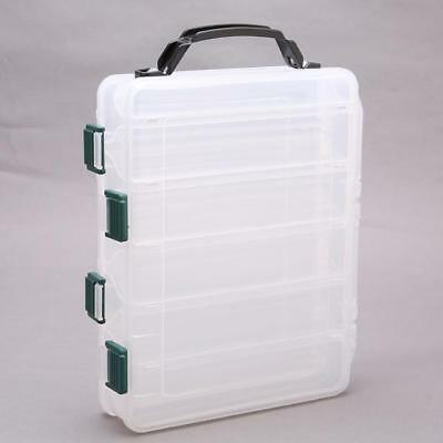 Double Sided Fishing Tackle Box Lure Storage Bait Case Hooks Compartments LC