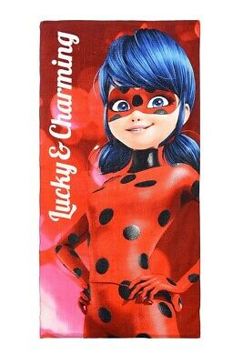 1x Miraculous Ladybug Towel, 140 x 70cm, red or grey, 83% cotton, 17% polyester