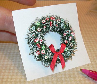 Miniature Green/Red Candy Christmas Wreath w/Red Bow: DOLLHOUSE 1:12 Scale