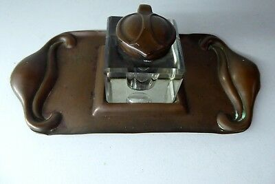 Arts Crafts Art Nouveau Inkwell Pen Stand Tray Copper And Glass Antique
