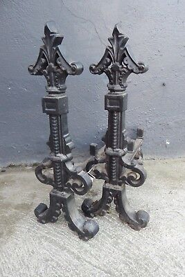 Antique Cast Iron Ornate Victorian Fire Dogs Stands