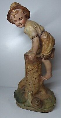 Antique Victorian Plaster Statue Boy Climbing Tree Stump With Snail #41