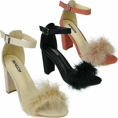07a85bb528d Womens Ladies Fur Sandal High Heels Shoes Fluffy Strappy Stiletto Party Prom