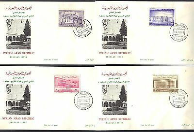 SYRIA 1963 FOUR FDCs OF DEFINITIVE ISSUES SYRAIN PHILATELIC SOCIETY COVERS