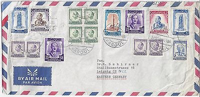 Afghanistan 1959 Multifranked Cover Kaboul To Leipzig East Germany