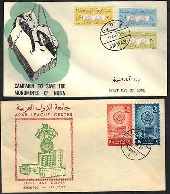 Jordan 1963 Arab League & Save Nubian Monuments Two Fdcs With Cachets