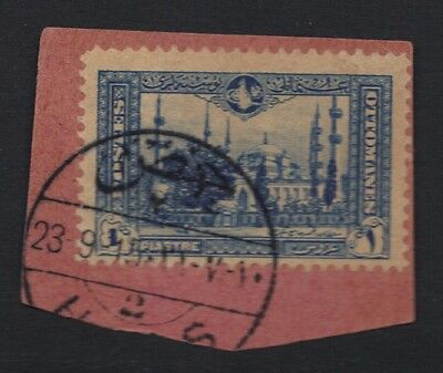"SYRIA-TURKEY 1915 ""HOMS 2"" TYING 1 pi. OTTOMAN STAMP ON PIECE C&W 72 RARE"