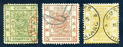 1878 Large Dragon thin paper complete set used Chan 1-3