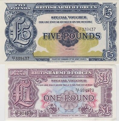 £5 & £1 Second Series Military Armed Forces Banknotes In Mint Condition