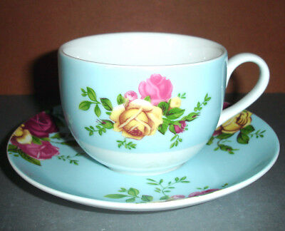 Royal Albert Country Rose Aqua Teacup & Saucer Set New In Box