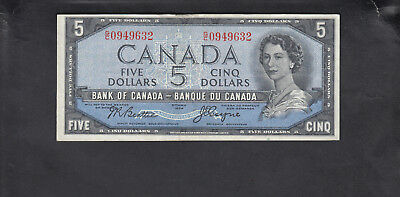 1954 Canada 5 Dollars Devil Face Bank Note Beattie / Coyne