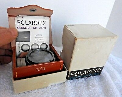 POLAROID CLOSE-UP LENS KIT #550 - Diopter Lenses Tape Measure Leather Case + box
