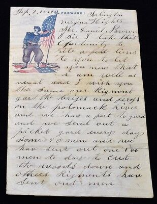 1861 Arlington Heights Virginia Civil War Letter - Awesome Letter Must Read!