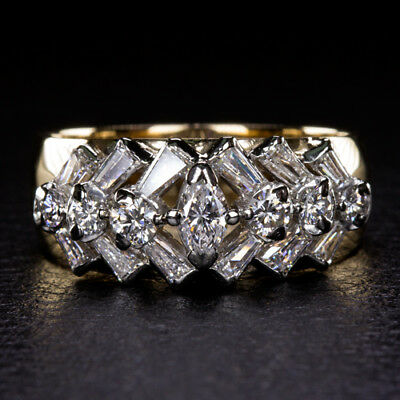 1.45ct F VS NATURAL DIAMOND TAPERED BAGUETTE MARQUISE ESTATE COCKTAIL RING GOLD