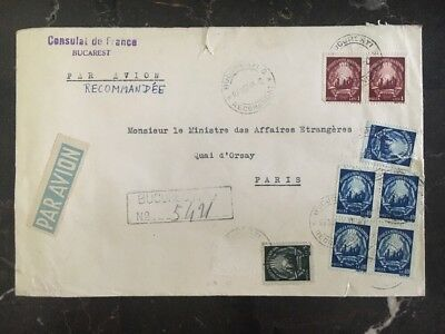 1949 Consulate Of France In Bucharest Romania Diplomatic Cover To Paris France