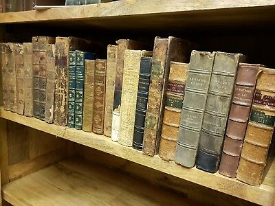 19th Century ANTIQUARIAN BOOK JOBLOT Collection LEATHER Calf GILT Antique LOT. 4