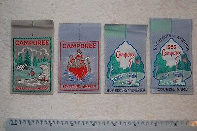 4 Different Vintage Boy Scout Camping Generic Woven Patches