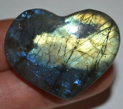 Labradorite Puffy Heart Polished Worry Stone Crystal Healing Reiki Pocket Rock
