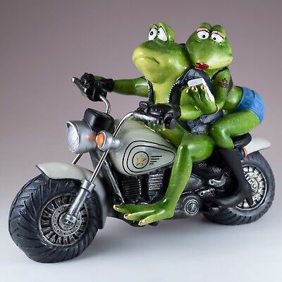 "Biker Frog Couple Taking Selfie Riding Motorcycle Figurine Statue 9.75"" Long New"